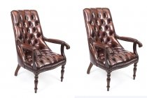Pair English Handmade Carlton Leather Desk Chairs BBO