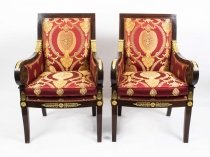 Vintage Pair Empire Revival Mahogany & Ormolu Armchairs 20th C