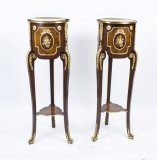 Pair Louis XV Revival Style Cream Marble Pedestals Stands