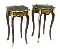 Pair of Louis Revival Marble Topped Serpentine Burr Walnut Occasional Tables