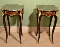 Pair of Louis XV Style Marble Topped Occasional Tables
