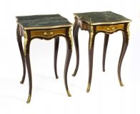 Stunning Pair Louis Reviival Verde Antico Marble Topped Side Tables