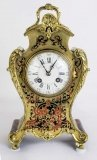 Antique French Red Boulle Cut Brass Mantel Clock