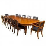 Antique Victorian Oak Dining Table & 12 Chairs