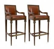 Elegant Pair Mahogany Leather Bar Stools Ormolu Mounts