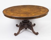 Vintage 5ft diameter Burr Walnut Marquetry Dining Table