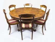 Vintage 5ft diam Burr Walnut Marquetry Table & 6 Chairs
