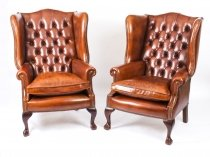 Pair Leather Chippendale Wing Back Armchairs Burnt Amber
