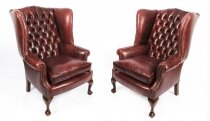 Bespoke Pair Leather Chippendale Wingback Armchairs Murano Port