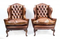 Antique Pair English Leather Wingback Armchairs