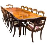 Stunning Bespoke Handmade Burr Walnut & Marquetry Dining Table & 12 Chairs