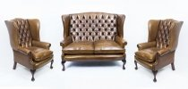 English Hand Made 3 x Leather Suite Chippendale