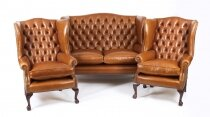 Bespoke English Hand Made 3 x Leather Suite Chippendale Bruciato