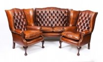 Bespoke English Hand Made 3 x Leather Suite Chippendale Burnt Amber