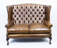 English Leather Chippendale Club Settee Sofa Cognac