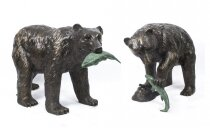 Pair Large Wild Bears Fishing Salmon Bronze Sculptures