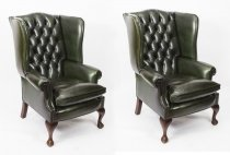 Pair Leather Chippendale Wingback Armchairs Emerald Green