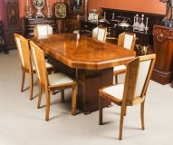 Antique Art Deco Burr Walnut Dining Table & 6 Skyscraper Chairs C1930