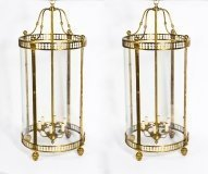 Pair Massive Brass Oval Sheraton Style 6 Light Lanterns