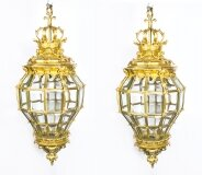 Pair Versailles Massive Bronze Diamond Baluster Lanterns