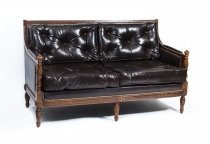 Classic Mahogany Dark Brown Button Back Leather Sofa