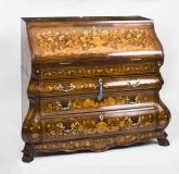 Antique Dutch Marquetry Burr Walnut Bombe& 39 Bureau