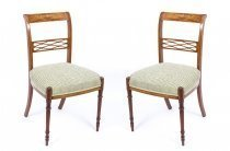 Antique Pair Satinwood Sheraton Revival Side Chairs