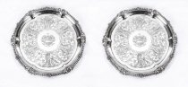 Antique Pair Paul Storr Sterling Silver Salvers 1814