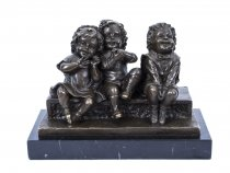 A Bronze Sculpture of Children in Deco Style