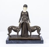 French Art Deco Style Bronze Female with Greyhounds