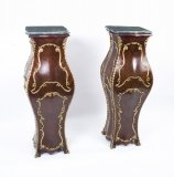 Pair of Exquisite French Bombe Kingwood Pedestals
