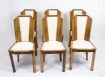 07589-Antique-Set-6-Art-Deco-Skyscraper-Walnut-Chairs-C1930