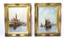 07628-Antique-Pair-Oil-Paintings-Venice-Jan-van-Couver-19th-C