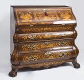 Antique Dutch Burr Walnut Floral Marquetry Bureau