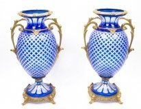 Beautiful Pair Blue Cut Crystal Glass & Ormolu Mounted Vases