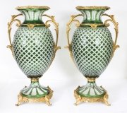 Beautiful Pair Green Cut Crystal & Ormolu Mounted Vases