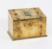 07769a-Antique-French-coral-mounted-brass-letter-stationary-box-C1880