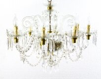 Superb Vintage Venetian Eight Light Crystal Chandelier