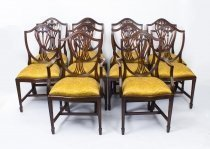 Vintage Grand Set 10 Hepplewhite Shield Back Dining Chairs 20thC