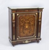 Antique French Burr Walnut Marquetry Side Cabinet