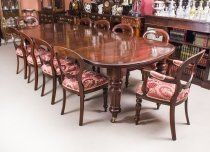 Antique D end Mahogany Dining Table & 10 Balloon Back Chairs