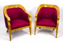 Vintage Pair Birdseye Maple Art Deco Biedermeier Armchairs