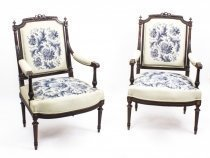 Antique Pair French Rosewood Armchairs