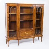 Antique Victorian Satinwood & Marquetry Display Cabinet C 1880