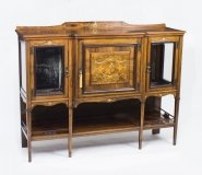 Antique Rosewood & Ivory Inlaid Salon Side Cabinet