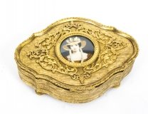 Antique Gilt Bronze Jewellery Casket & Miniature