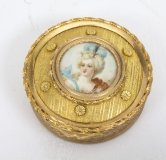 Antique French Gilt Bronze Jewellery Casket & Miniature