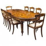 Bespoke Handmade Burr Walnut Marquetry Dining Table & 8 Chairs