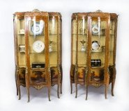 Antique Pair French Vernis Martin Serpentine Vitrine Cabinets