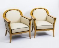 Antique Pair Swedish Art Deco Creme Leather Armchairs